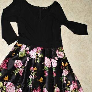 Eshakti Black Floral Maxi Dress